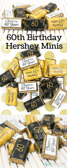 Black And Gold 60th Birthday Party Mini Candy Bar Stickers