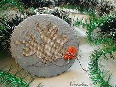 three rabbits cross stitch