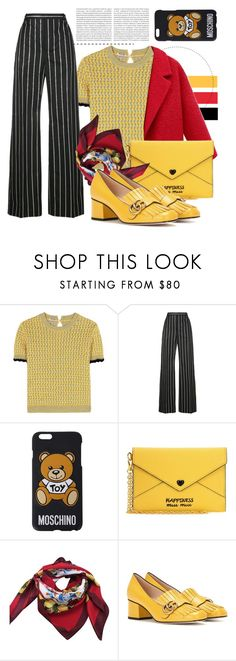 """Miu Miu Yellow"" by karolinapl ❤ liked on Polyvore featuring Oris, Miu Miu, Balenciaga, Moschino, Dolce&Gabbana and Gucci"