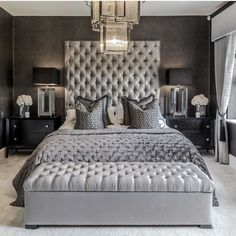 Gorgeous Monochromatic grey luxury bedroom with extra tall tufted headboard, luxury grey bedroom decor Bedroom Design Gorgeous Monochromatic grey luxury bedroom with extra tall headboard Grey Bedroom Decor, Glam Bedroom, Home Bedroom, Light Bedroom, Bedroom Apartment, Girls Bedroom, Bedroom Inspo Grey, Dark Gray Bedroom, Grey Bedrooms