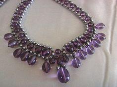 Magnificent 1940's Amethyst Glass Louis Rousselet Bib Necklace