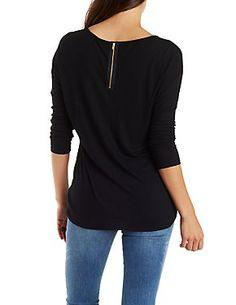Oversized Ribbed Tee with Exposed Zipper:  Charlotte Russe