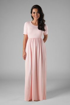 5e9ae7da321b Casual modest bridesmaid dress, style MK23767 Pink, is part of the Wedding  Collection of
