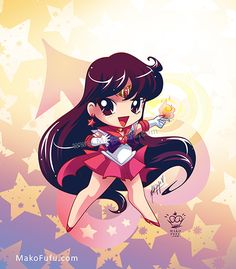 .:Chibi Super Sailor Mars:. by Mako-Fufu http://www.redbubble.com/people/makofufu/works/11319159-chibi-super-sailor-mars