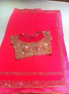 GEORGETT FANCY MIRROR WORK SARI PAIRED WITH DESIGNER MIRROR WORK BLOUSE.| Buy online Sarees | Elegant Fashion Wear