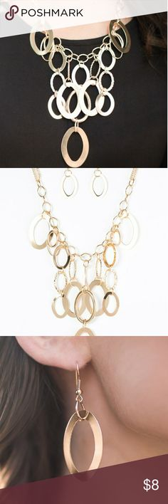2 for $13 Gold Necklace 💎Bundle for Deal Large gold links and shimmering textured gold rings cascade below a gold chain freely, allowing for movement that makes a bold statement. Features an adjustable clasp closure.  Sold as one individual necklace. Includes one pair of matching earring. Jewelry Necklaces