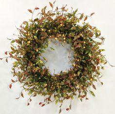 Fall Wreath, Autumn Wreath, Harvest Wreath, Woodland Wreath, Fall Floral, Fall Door Decor, Rustic Wreath, Green Wreath, Fall Berry Wreath
