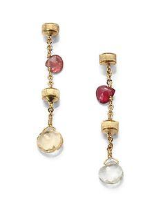 Marco Bicego - Semi-Precious Multi-Stone & 18K Yellow Gold Chain Link Drop Earrings - Saks.com