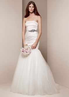 Mikado Fit and Flare Gown with Tulle Skirt - David's Bridal