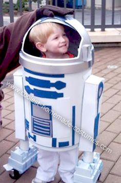 I made this R2D2 costume so that my 6 year old son, who has cerebral palsy, would be the coolest kid in elementary school for the parade.    I am pretty