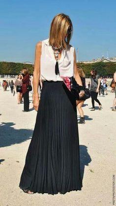 Falda Negra Con Blusa Blanca Suelta Moda Estilo Moda Moda Faldas