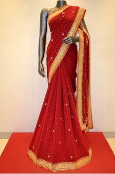 Stylish Red Pure Georgette Silk With Embroidery Product Code: SSJG00924