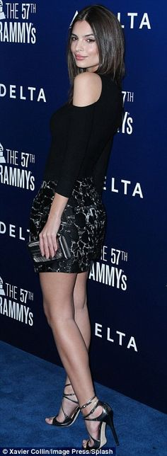 Chic style: Emily also wore embroidered shorts and heels, showing off the body that made h...