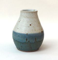 Small Modern Blue and White Pottery Ceramic by StudioOnGibbons, $32.00