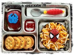 School Lunch for my picky eater, facebook page, kids, planetbox. Spider web mac and cheese, apple, turkey wienie under the ritz crackers and vitamins! ♥ click the picture for more!