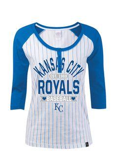 Kansas City Royals T-Shirt - White Royals Pin Stripes Long Sleeve Tee Royals Baseball, Baseball Mom, Team Wear, Kansas City Royals, Got The Look, Long Sleeve Tees, Cute Outfits, Stripes, My Style