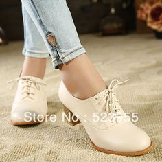 2013 British style brief fashion vintage thick heel liner genuine leather lace up women casual shoes oxford pumps free shiping-inPumps from Shoes on Aliexpress.com