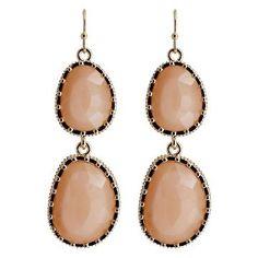Women's Fashion Drop Earrings - Gold/Light Peach