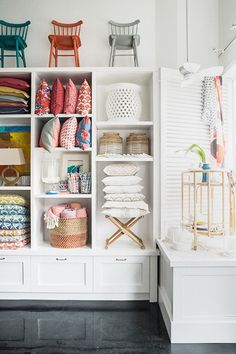 Turn my bookshelves into cubbies for walk in closet