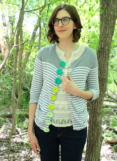 Crochet button sweater makeover by One Sheepish Girl.
