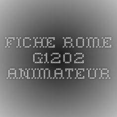 fiche rome g1202 animateur