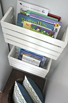 What a great way to store books! Currently we have books scattered around in every room in the house thanks to our little man. Just cut a crate in half and you have two awesome shelf/containers.