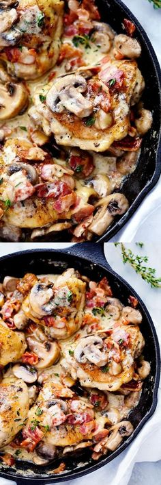 Creamy Bacon Mushroom Thyme Chicken #dinner #skillet #bacon