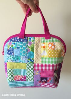chick chick sewing: Patchwork Log Cabin Dome Pouch ☆ パッチワークログキャビンで五つ星バッグ ☆                                                                                                                                                                                 もっと見る