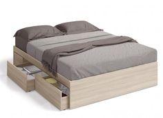 Cama con cajones interiores Mataró, al precio más barato por solo 149€  Aprovechar el espacio vacío de debajo de una cama está a tu alcance con esta cama con cajones interiores modelo Mataró, y a un precio muy muy barato