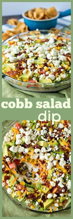 A creamy ranch dip covered in your favorite toppings from a traditional cobb salad. The perfect appetizer for game days, summer parties, and barbecues!