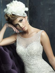 allure couture bridal fall 2013 sleeveless wedding dress illusion neckline c271 close up bodice
