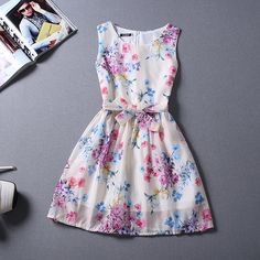 New Summer Fashion Small Fresh Floral Sleeveless Dress Slim