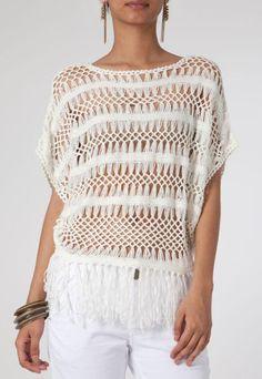 Блузка Крыльцо окаймляет Грязно-белый - Купить | Dafiti Бразилия