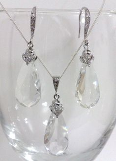 CLEAR AURA SET - clear swarovski crystal teardrop bridal jewelry, by #YJDesign. View more at http://yjdesign.com.au.