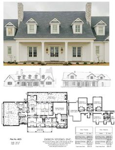 Symmetrical primary structure white brick three dormers two chimneys Best House Plans, Dream House Plans, House Floor Plans, My Dream Home, French Country House Plans, Design Studio, Home Design, Plan Design, House Design Plans