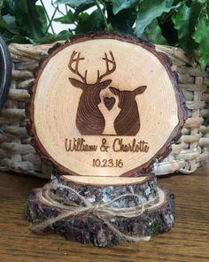 Rustic Wedding Cake Topper Engraved Wedding by SweetHomeWoods