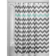 InterDesign Chevron Fabric Shower Curtain, 180 x 180 cm - Gray/Aruba Blue