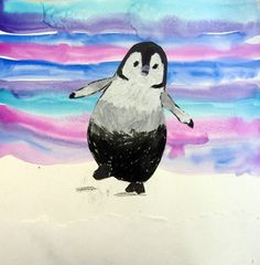 """Happy Feet"" Penguin.  Artsonia Art Museum :: Artwork by Siena29 from Hawthorne Elementary School.  Blended oil pastels and water color wash. http://www.artsonia.com/museum/gallery.asp?exhibit=486286&index=0"