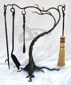 'tree' fireplace tools by ~artistladysmith
