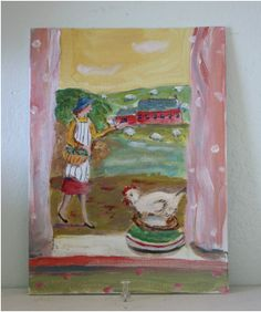 "Staffordshire chicken - Julie Whitmore - 5"" x 7"" $142"