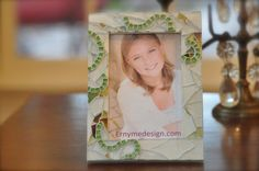 hand craffted 4x6 stained glass mosaic frame by Ernymedesign, $24.00