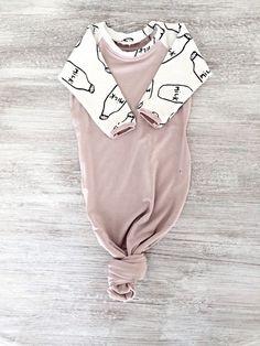 Baby Girl Newborn Milk Bottle Knotted Gown 0-3 months by LilRhinos