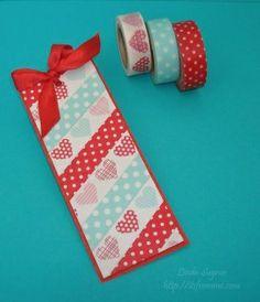 Wild about Washi-tape!  A beautiful hand-made Valentine washi tape bookmark