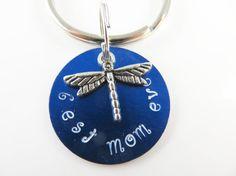 Small hand stamped mom keychain by jewelryandmorebykat on Etsy