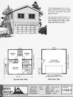 2 Car Garage With Second Story Apartment Plan No By Behm Design 24 X 30 Has Full Above And External Stairway The Plans