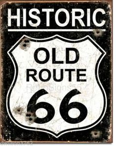 Old-Route-66-Tin-Metal-Sign-Weathered-Look-Hot-Rod-Custom-Car-Garage-Shop-Gift