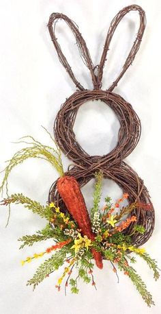 Grapevine Bunny Wreath With Carrot