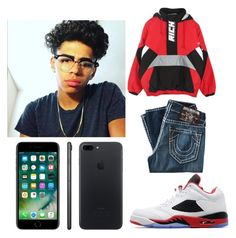 """ootd 🔥christian🔥"" by geazybxtch24 ❤ liked on Polyvore featuring Joyrich, True Religion, Jordan Brand, Apple, men's fashion and menswear"