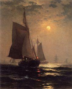 "Edward Moran, ""Moonlight in New York Harbor,"" ca. 1882."