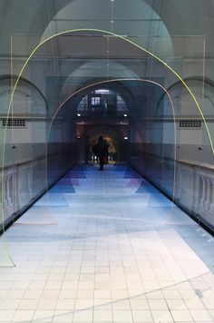Mise-En-Abyme - Laetitia De Allegri & Matteo Fogale. An installation formed from coloured acrylic patterns and bespoke floor tiling, showing at the V&A, as part of London Design Festival 2015.